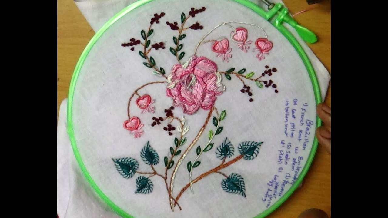 Simple hand embroidery designs for tablecloth - Hand Embroidery Flower Work Designs 102 Brazilian Embroidery Rose Design