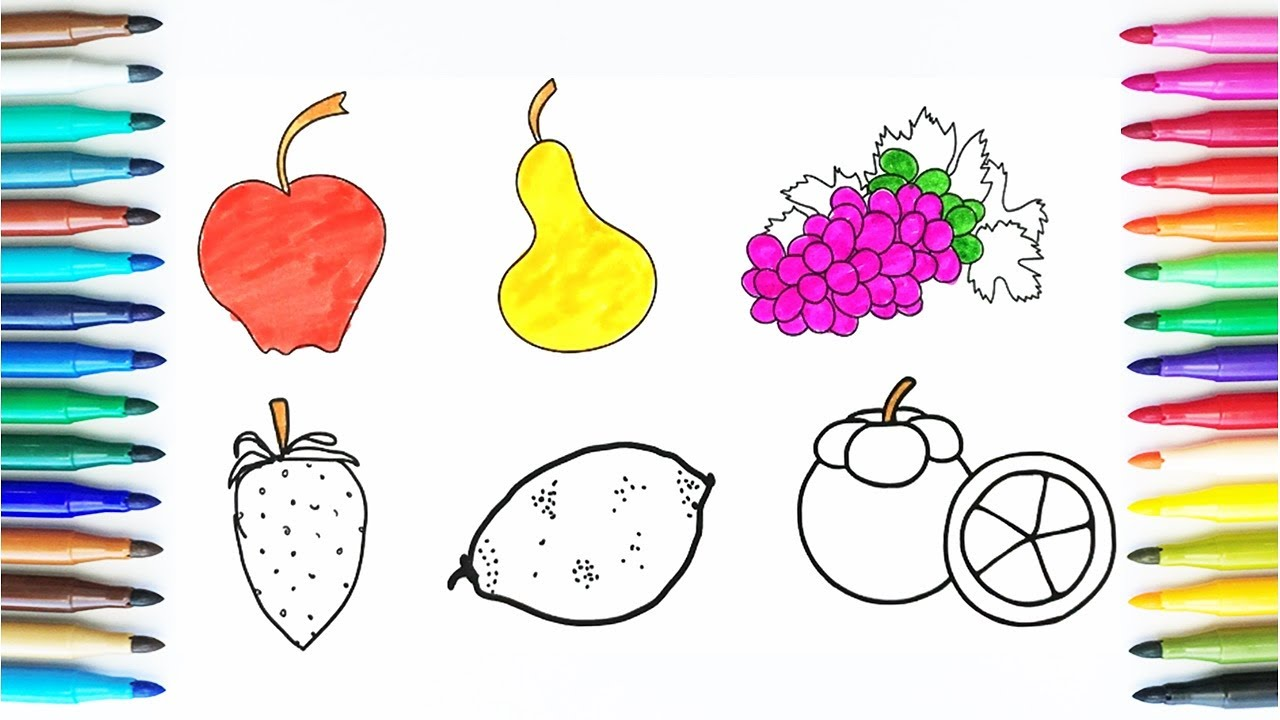 Art color book - How To Color Fruits Learn Drawing For Kids Coloring Book Fruit Art Colors For Children
