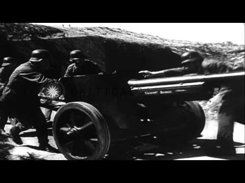 Rudolf Von Ribbentrop and Field Marshall Rommel on an observation tour of West Wa...HD Stock Footage