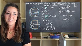 Largest possible volume of a cylinder inscribed in a sphere (KristaKingMath) thumbnail