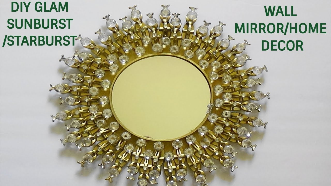 DIY SUNBURST/ STARBURST WALL MIRROR/HOME DECOR USING LIGHT CLIPS ...