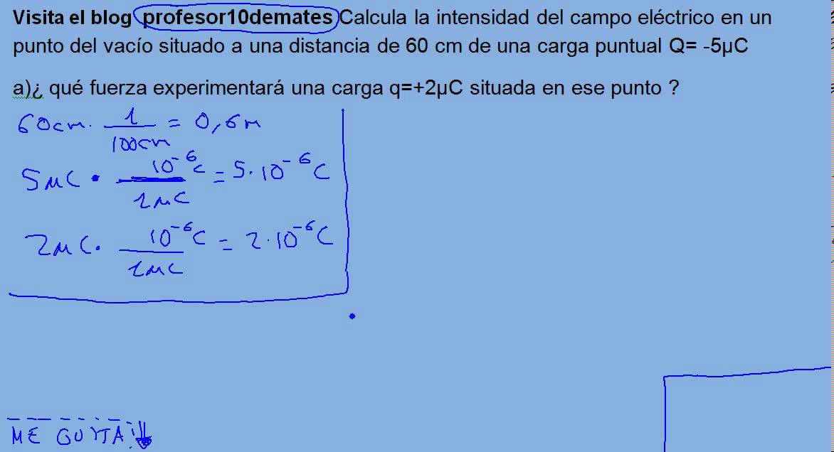 calcula intensidad campo electrico: