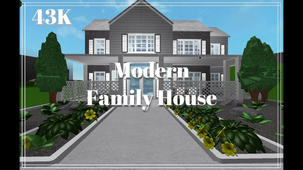 Roblox Bloxburg 43k Modern Family House Speed Build Youtube