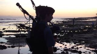 AMAZING 100 YEAR OLD PEGGY! Scottish Bagpipe Memorial~PART 7~Ventura California Surfers Point