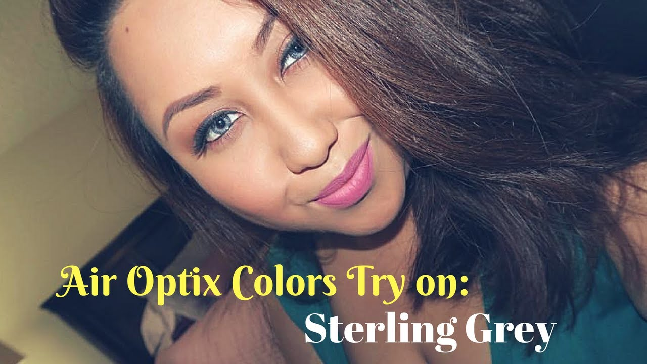 Air Optix Colors Try On Sterling Grey On Dark Brown Eyes