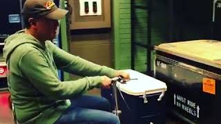 Joe Bonamassa Riding a Beer Cooler Scooter Backstage