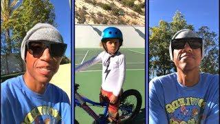 Reggie Miller Teaches His Little Man To Ride