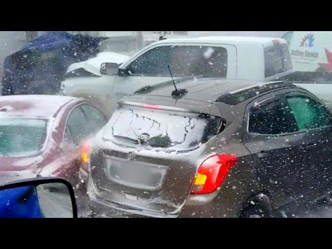 Dozens of Cars Pile Up During Snow Storm