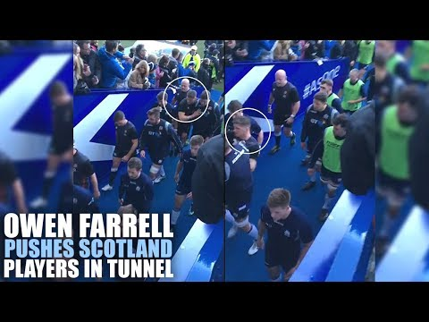 New footage shows moment Owen Farrell pushed Scotland players in the tunnel
