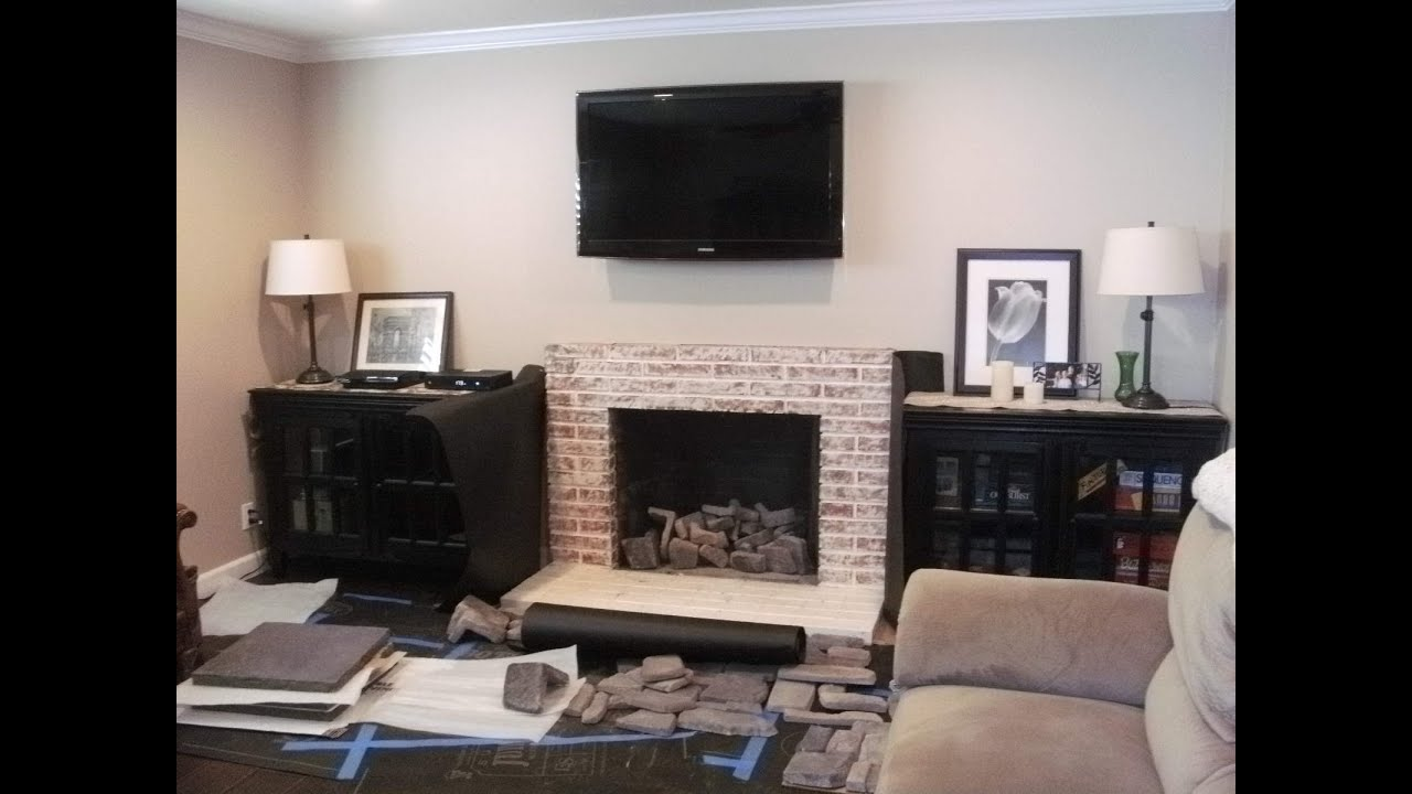 Install Stone Veneers Over Old Brick Fireplace Diy Youtube Installing Veneer Stone And Hearth Over Old White Brick