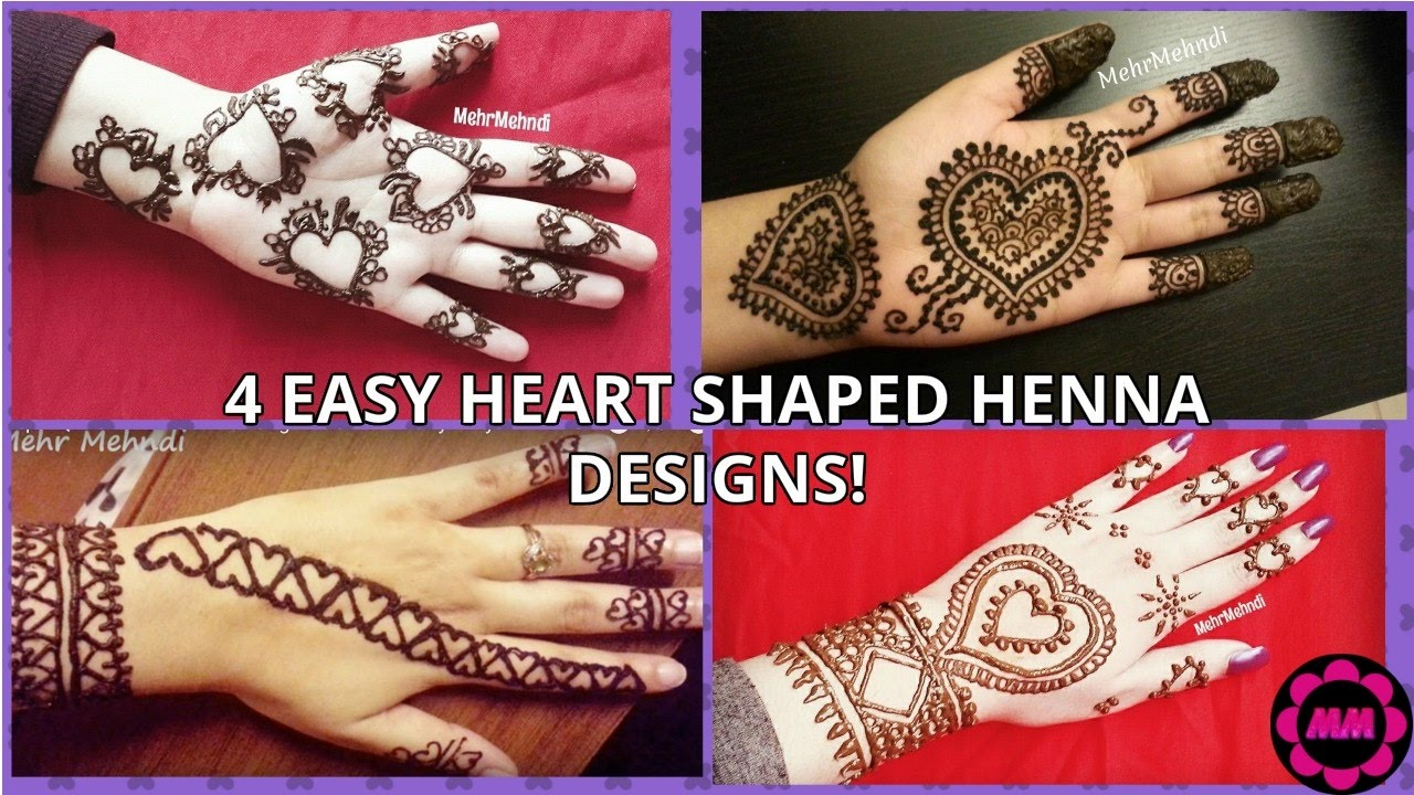 4 Easy Heart Henna Designs Heart Shaped Mehendi Designs Beautiful