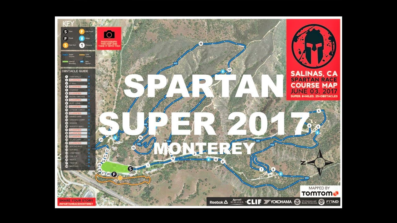 Spartan Monterey Super 2017 (All Obstacles in Order) - YouTube