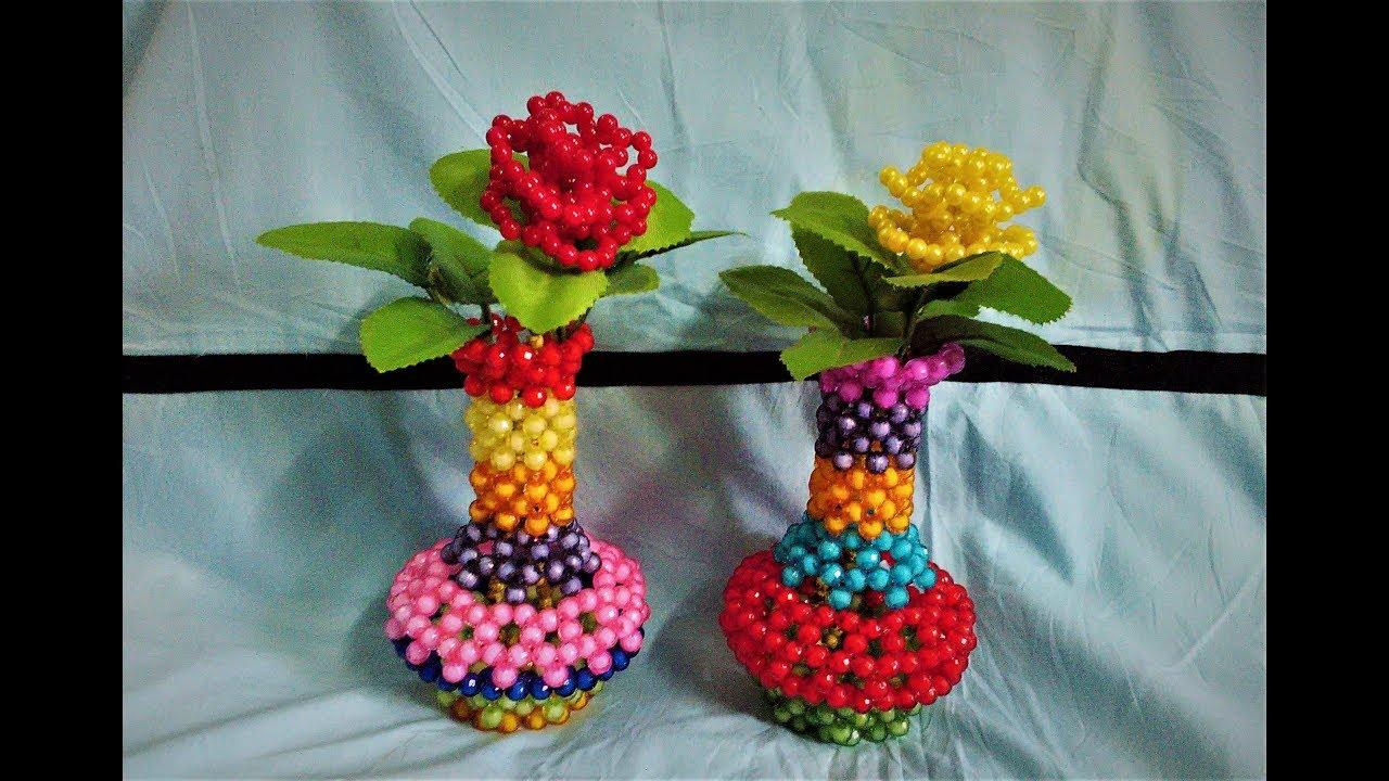 Download Beaded flower vass || পুতির ফুলদানী তৈরী || How to Make Beaded flower tob || beaded craft making