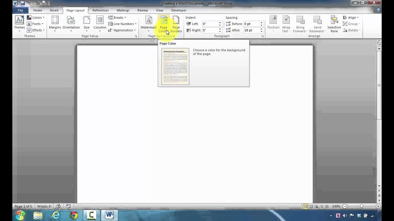 How to Change Page Background Color in Microsoft Word 2010