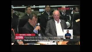 COEN  PPK RECIBE BALANCE DE SIMULACRO NOCTURNO TV PERU