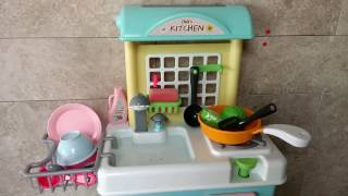 Toy Kitchen Playset Velcro Fruits Vegetables Cooking Soup Frying Egg Washing Dishes