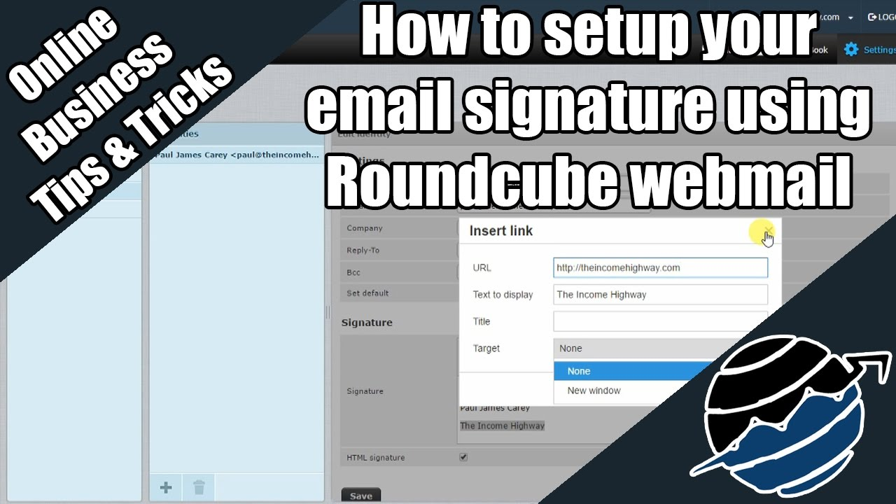 How to setup your email signature using Roundcube webmail - YouTube