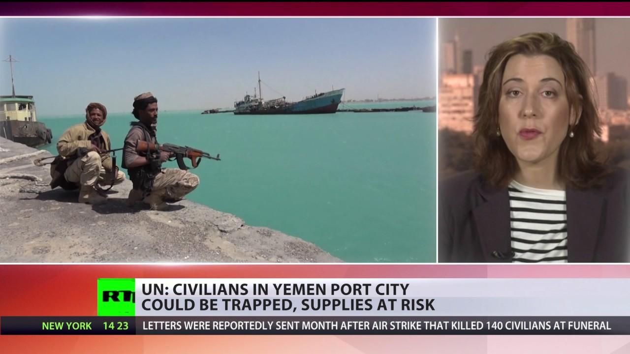 Ataques de la coalición liderada por el Saudita pueden atrapar a civiles en la ciudad de puerto de Yemen, UN