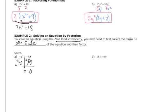 Algebra - 7.6 Factoring Polynomials Using the GCF