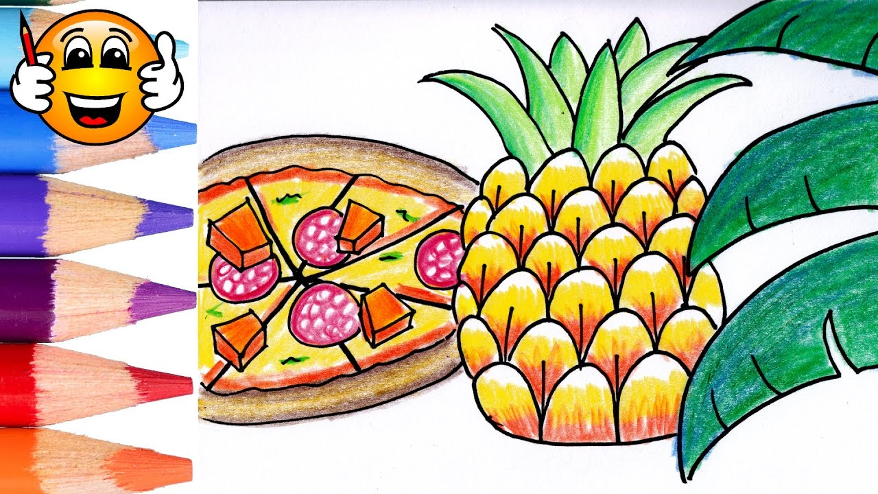 coloring pages for kids pineapple pizza coloring for kids