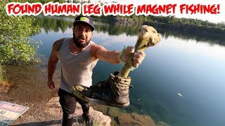 FOUND HUMAN LEG BONE & BICYCLE while USING A GIANT MAGNET IN A SCARY HAUNTED QUARRY (MAGNET FISHING)