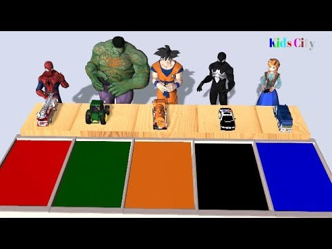 Learn Colors with Spiderman, Hulk, Sangoku, Black Spiderman, Anna and Street Vehicles for Children
