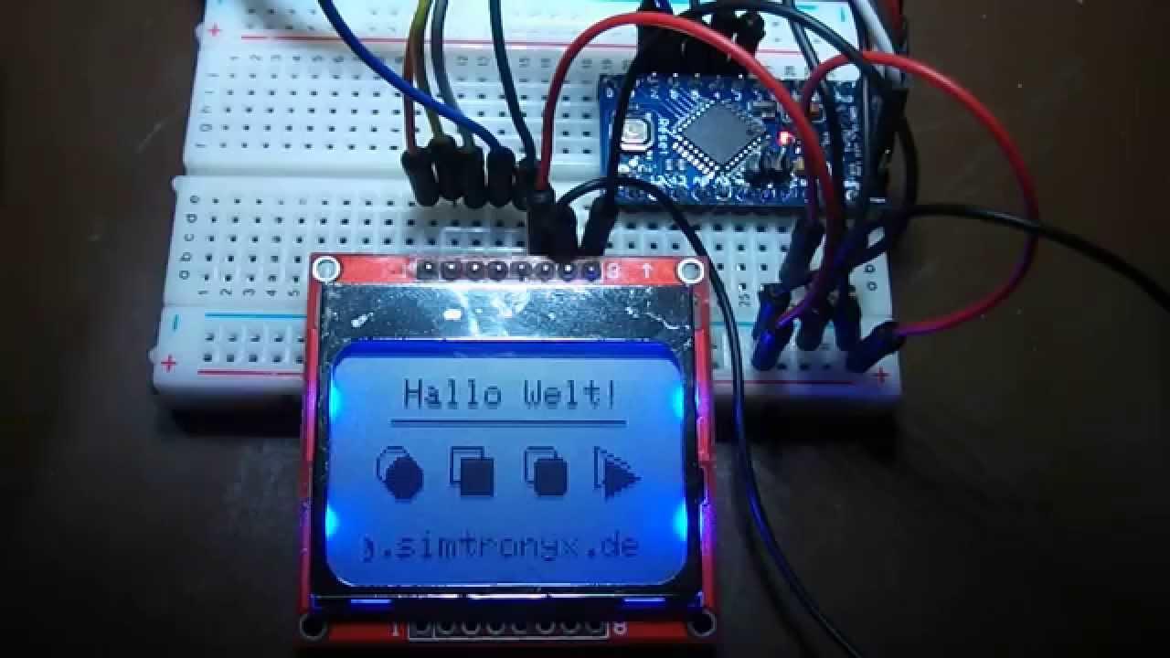 Nokia lcd display ein arduino pro mini mit v und