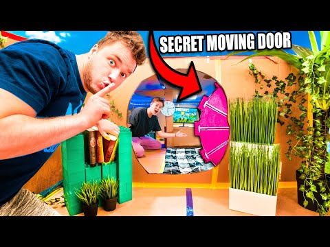 24 HOUR TOP SECRET BILLIONAIRE BOX FORT! Secret MOVING DOOR, Nerf Room & More!
