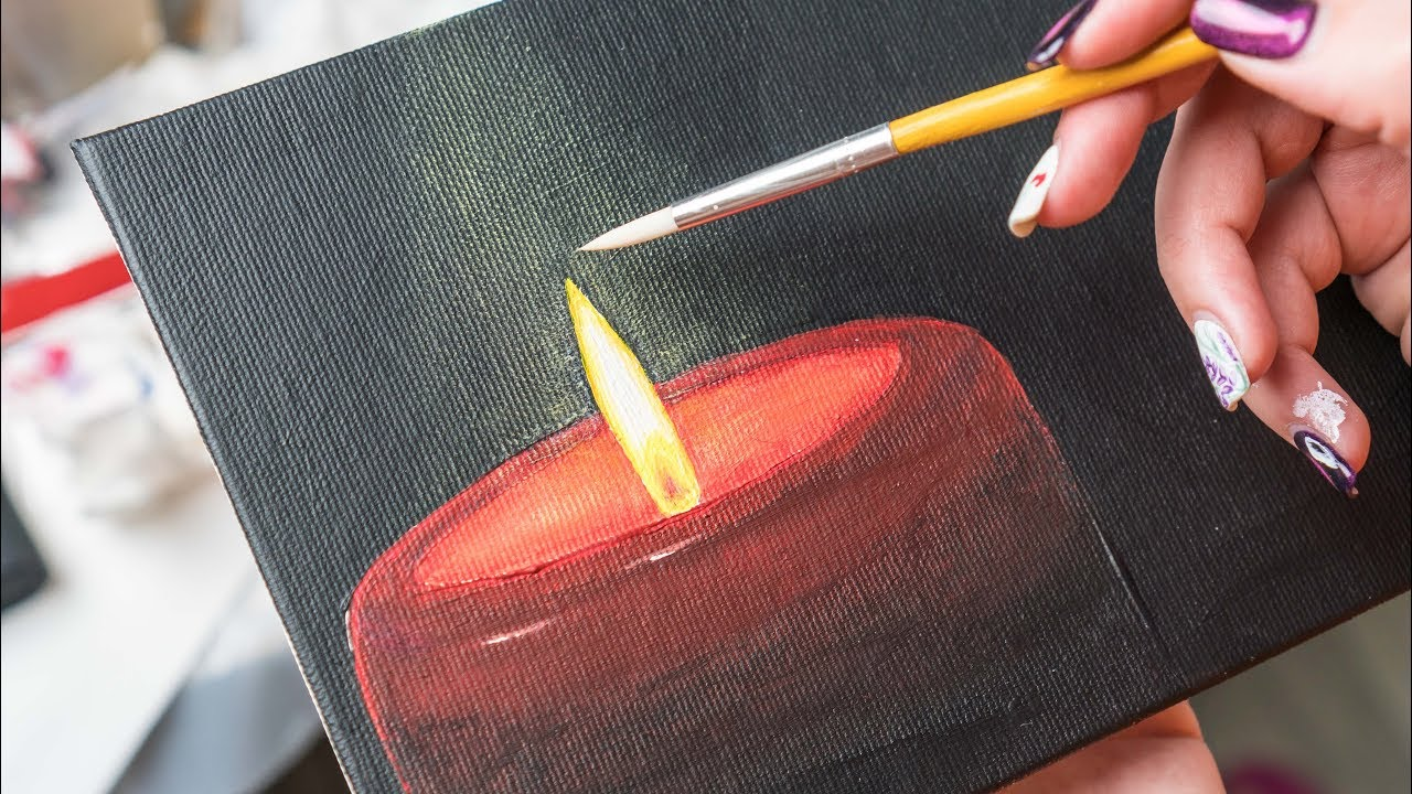 The Red Candle Burns At Night Acrylic Painting Homemade Ilration 4k