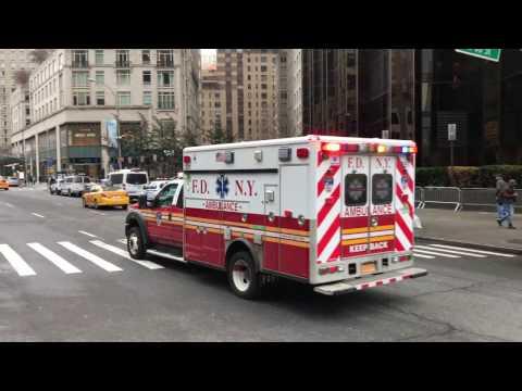 BRAND NEW FDNY ECO FRIENDLY EMS AMBULANCE RESPONDING ON BROADWAY IN MANHATTAN, NEW YORK CITY.