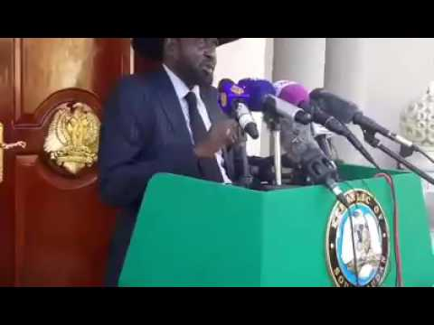 President Salva Kiir addressing a press conference yesterday