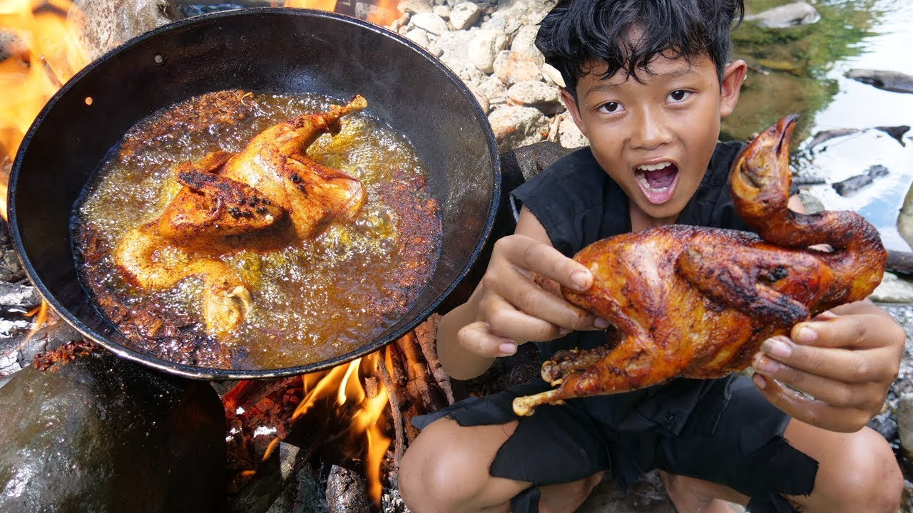 Survival Skills - Yummy cooking chicken in the forest