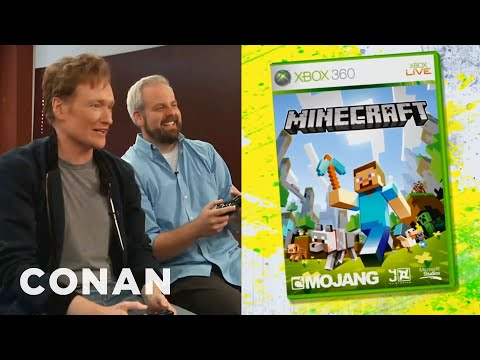 """Conan O'Brien Reviews """"Minecraft"""" for XBox 360 - Clueless Gamer  - CONAN on TBS"""