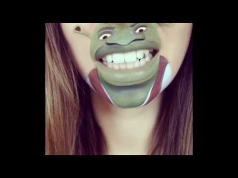 Смешной макияж губ. Рисунки животных на лице