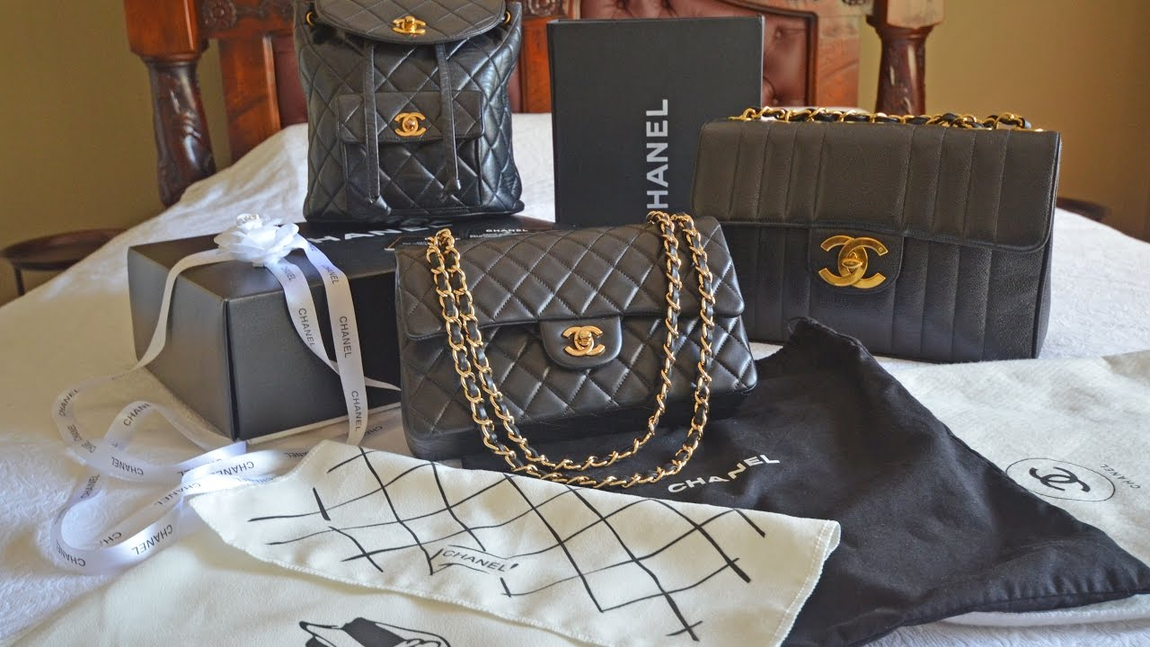 6c68d9a5602ba2 Chanel bag collection review including Vintage Chanel Jumbo & Backpack,  Chanel double flap medium