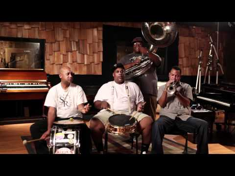 "Members of Soul Rebels perform ""Saints"" in a private New Orleans studio"
