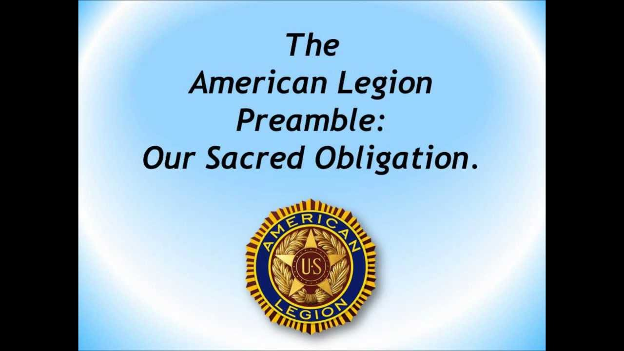 the american legion preamble  our sacred obligation