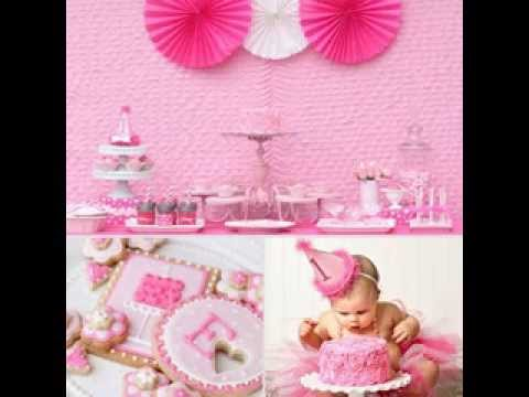 Baby girl first birthday party decorating ideas youtube for Baby girl birthday party decoration ideas