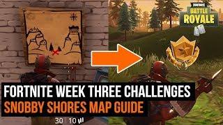 Fortnite week 3 challenge - Snobby Shores Treasure map guide