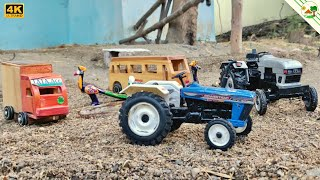 Toy Tractor EICHER & Powertrac pulls the Wooden Bus 🚌 and Mini Truck