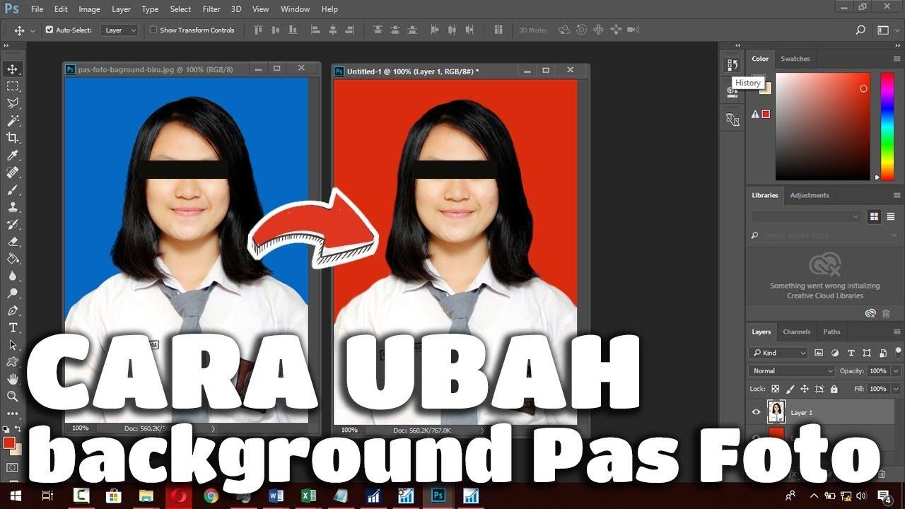 Cara Mengganti Background Pas Foto Biru Jadi Merah Atau Sebaliknya Youtube
