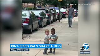 Toddler 'besties' running to hug each other in NYC go viral | ABC7