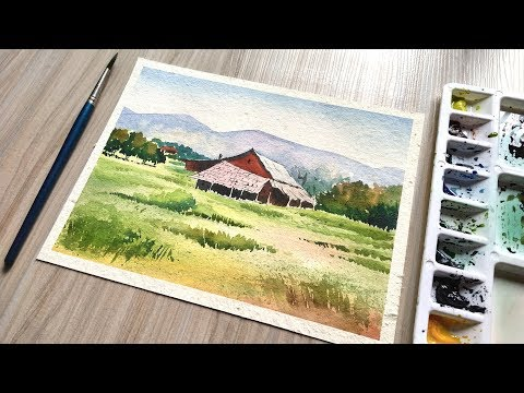 watercolor village painting – Landscape nature scenery Drawing | Paint with David
