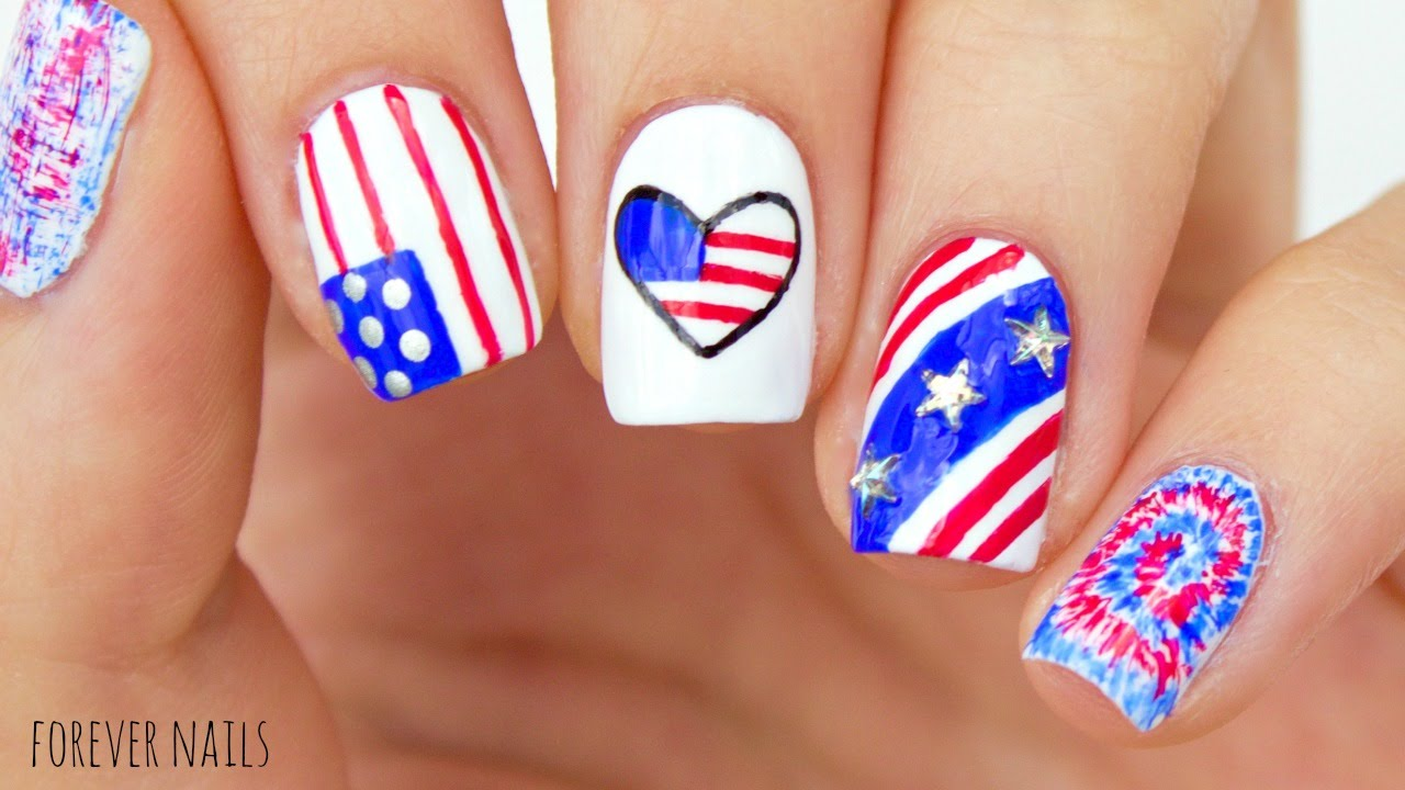 Fourth Of July Nails | Easy 4th Of July Nail Designs! - YouTube