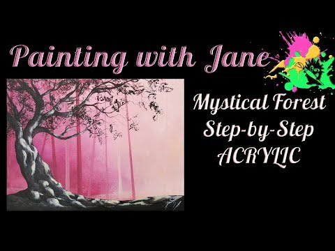 Mystical Forest for Beginners Acrylic on canvas Painting Tutorial