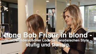 Long Bob Frisur in blond - neuer, wunderschöner Look im französischen Style – stufig und fransig.