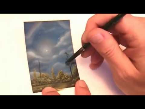 Time-lapse painting ACEO landscape sky and clouds by fantasy fairy tale artist Philippe Fernandez