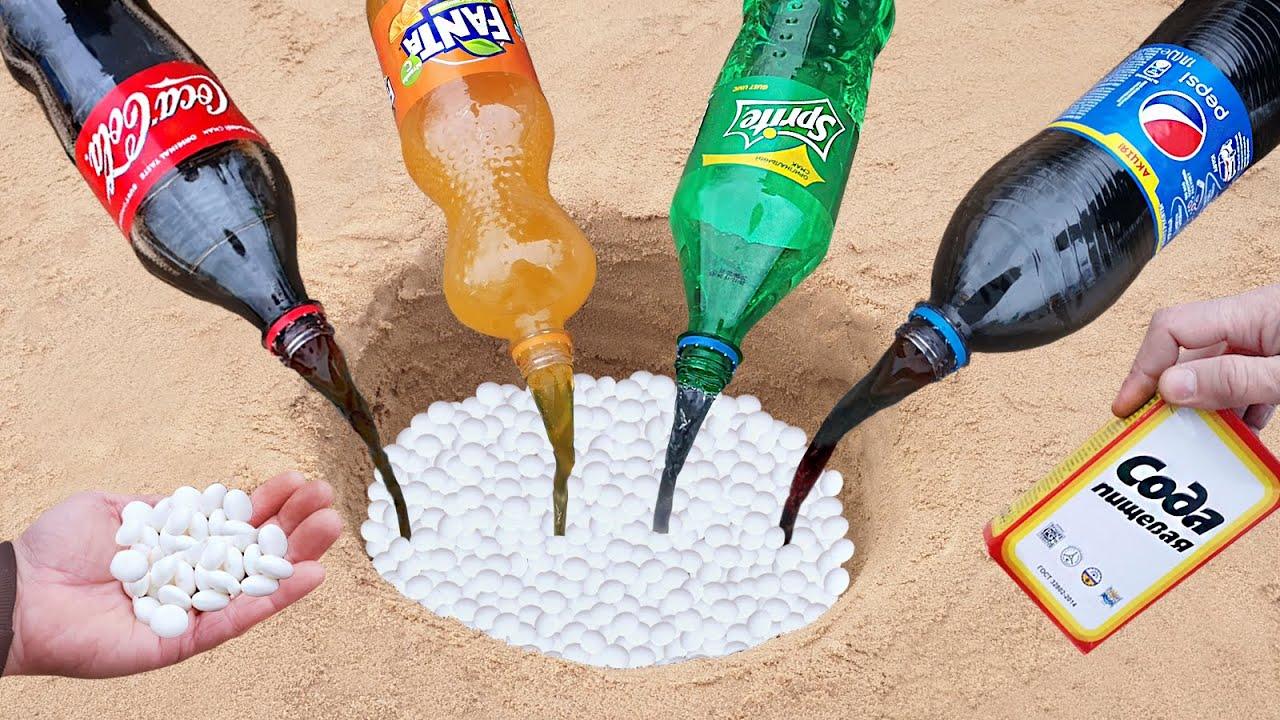 Coca-Cola, Fanta, Sprite, Pepsi vs Mentos Underground - Colorful Elephant Toothpaste
