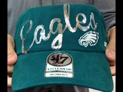 Eagles Womens 'SPARKLE SCRIPT CLEAN-UP' Strapback Hat by 47 Brand