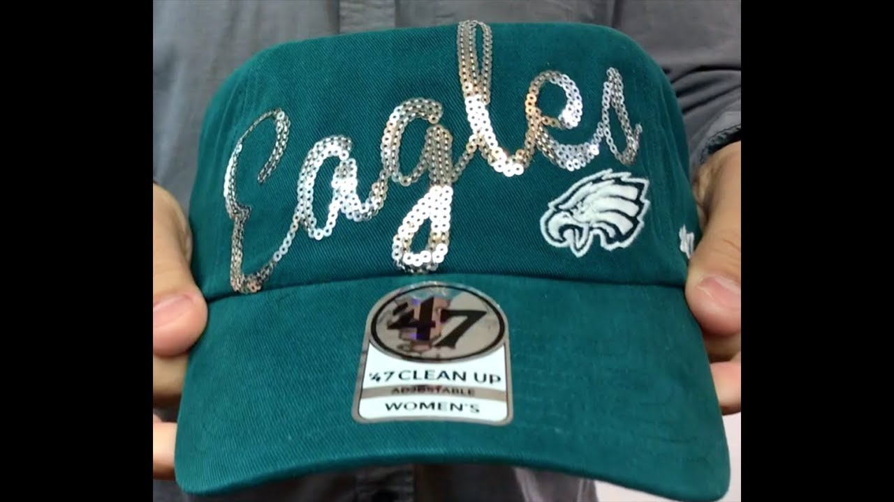 new styles 23958 02635 Eagles Womens  SPARKLE SCRIPT CLEAN-UP  Strapback Hat by 47 Brand